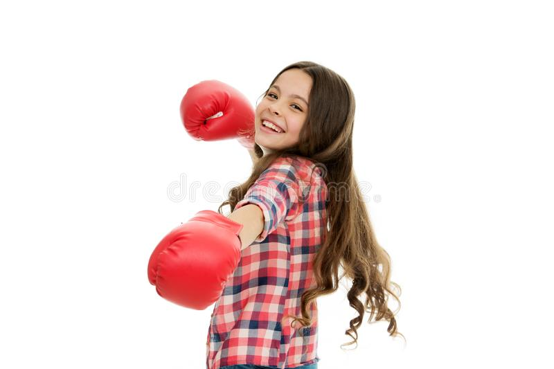 Girls power concept. Upbringing confidence and strong character. Female rights and liberties. Girl boxing gloves ready. To fight. Kid strong and independent stock image