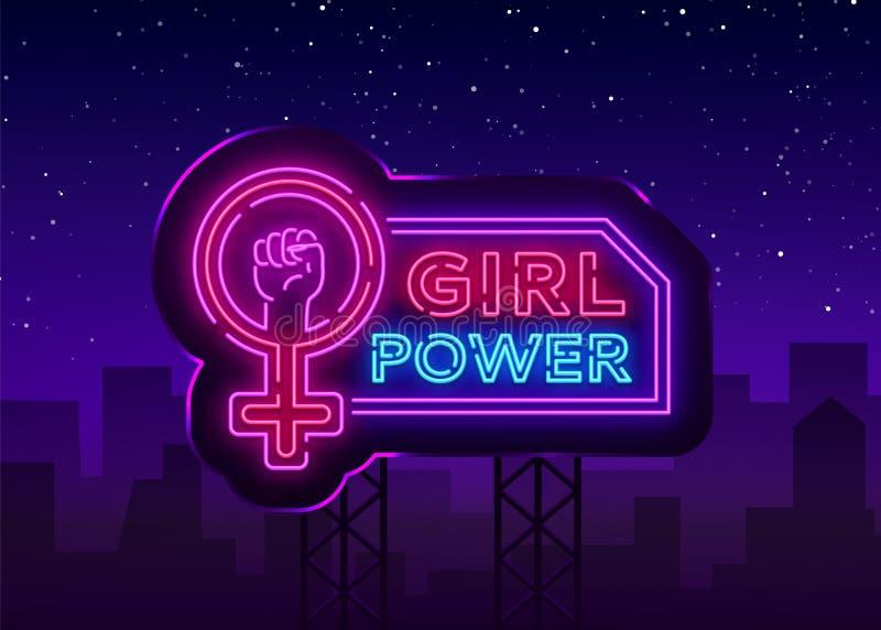Girls Power neon sign. Fashionable slogan feminist slogan, neon style banner light, night bright sign. Vector vector illustration