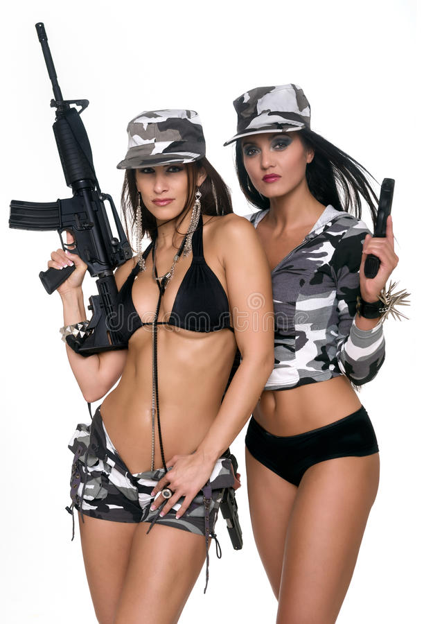 Girls with powerful weapons royalty free stock photos