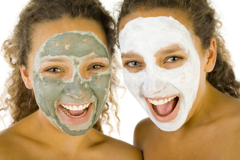 Download Girls with puryfying masks stock photo. Image of looking - 3216326