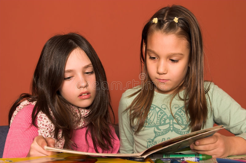 Download Girls reading book stock image. Image of youth, people - 2041069