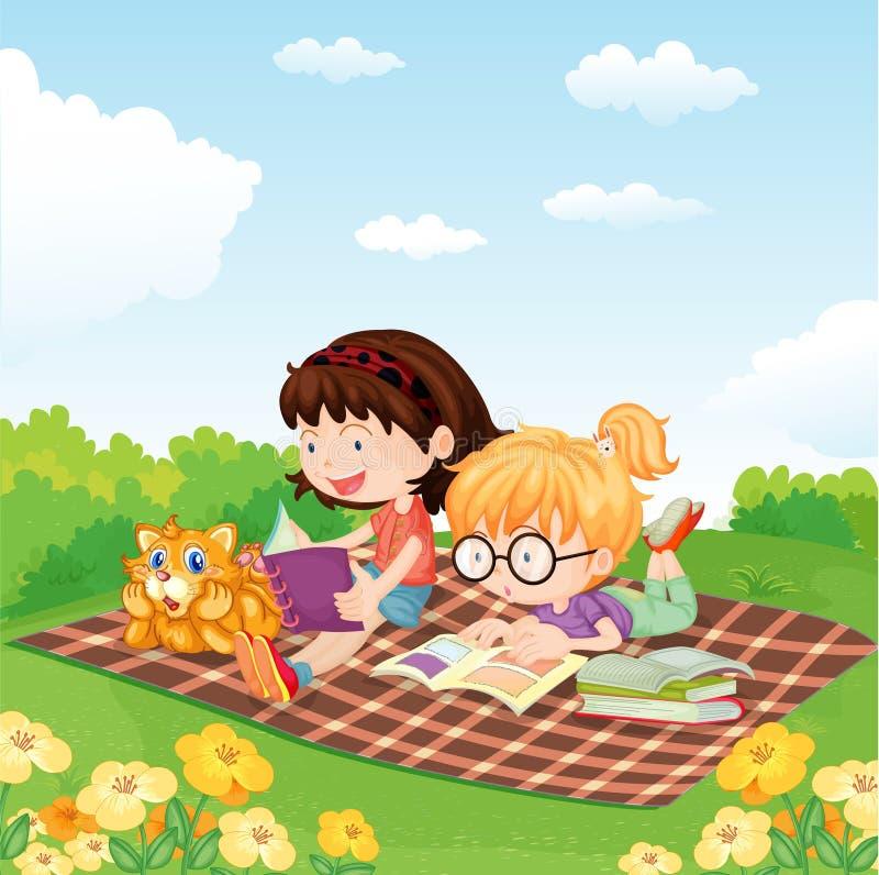 Girls reading book royalty free illustration