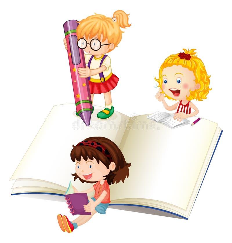 Girls reading and writing book. Illustration stock illustration