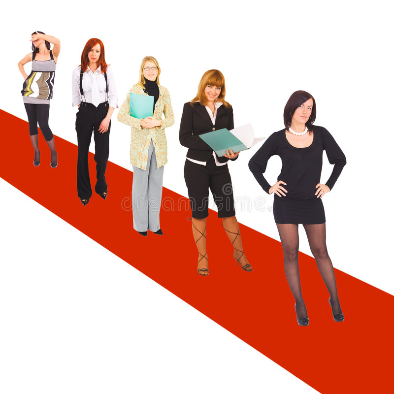 Girls on red carpet royalty free stock photography