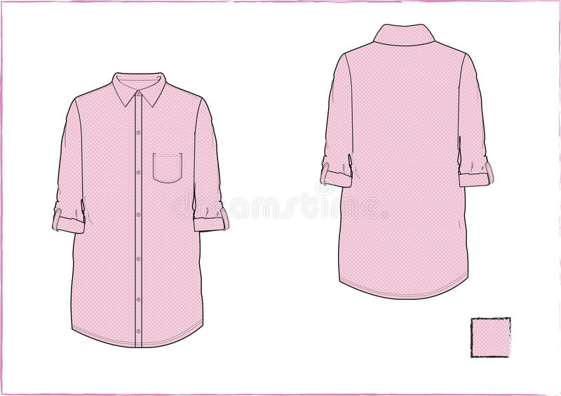 Girls roll up woven shirt template stock image