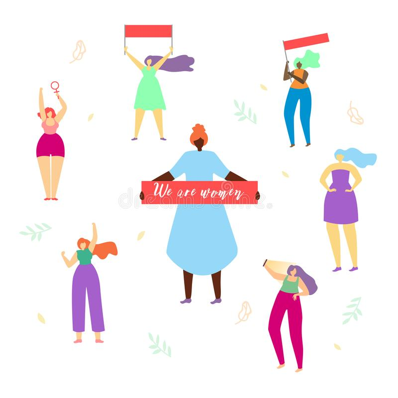 Girls Round of Woman with Big Banner We Are Women stock illustration