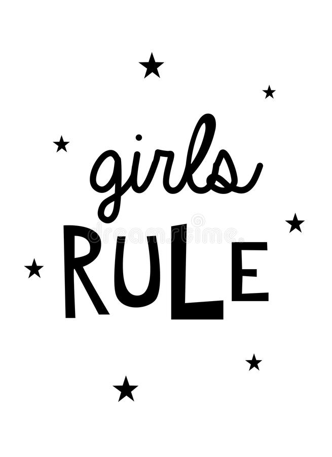 Girls Rule Wall Art Quote royalty free illustration