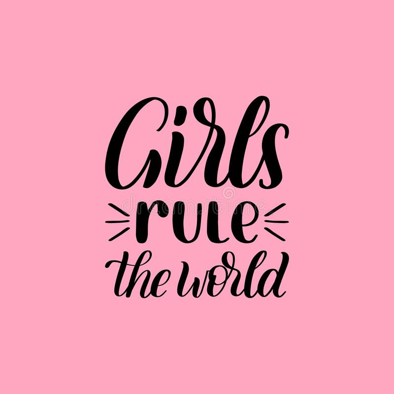 Girls Rule The World hand lettering print on pink background. Vector calligraphic illustration of feminist movement.  vector illustration