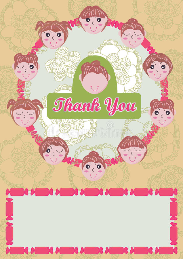 Girls Say Thank You Card_eps vector illustration