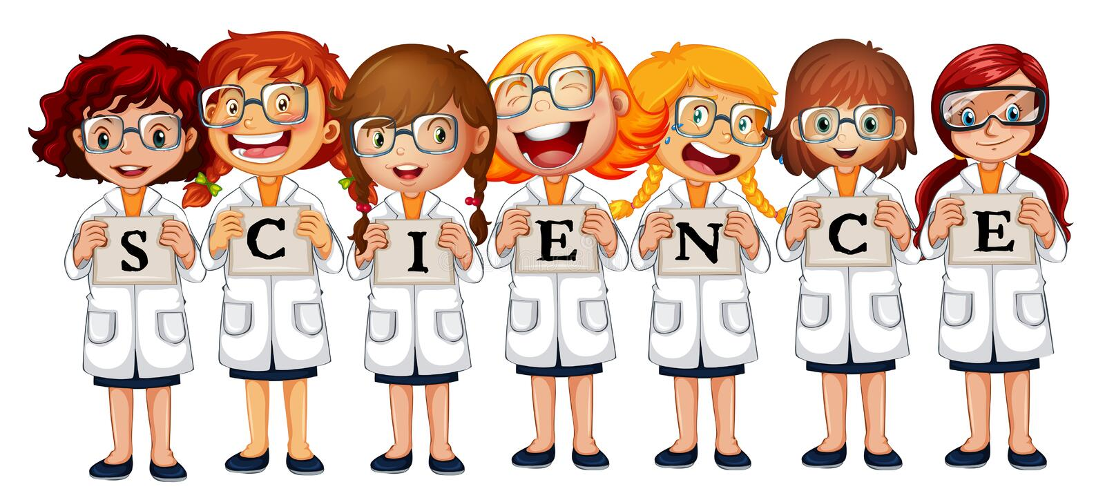 Girls in science coats and word science vector illustration