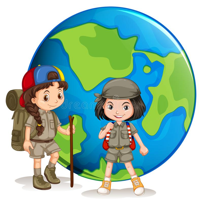 Girls scout listos para caminar libre illustration