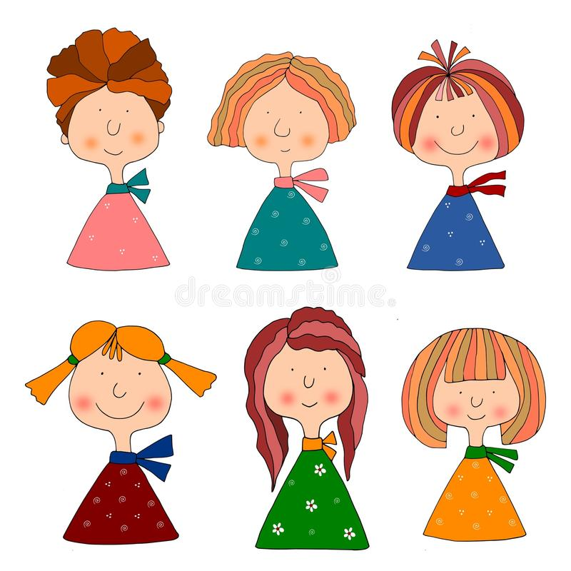 Download Girls. Set Of Cartoon Characters Stock Illustration - Image: 22100534