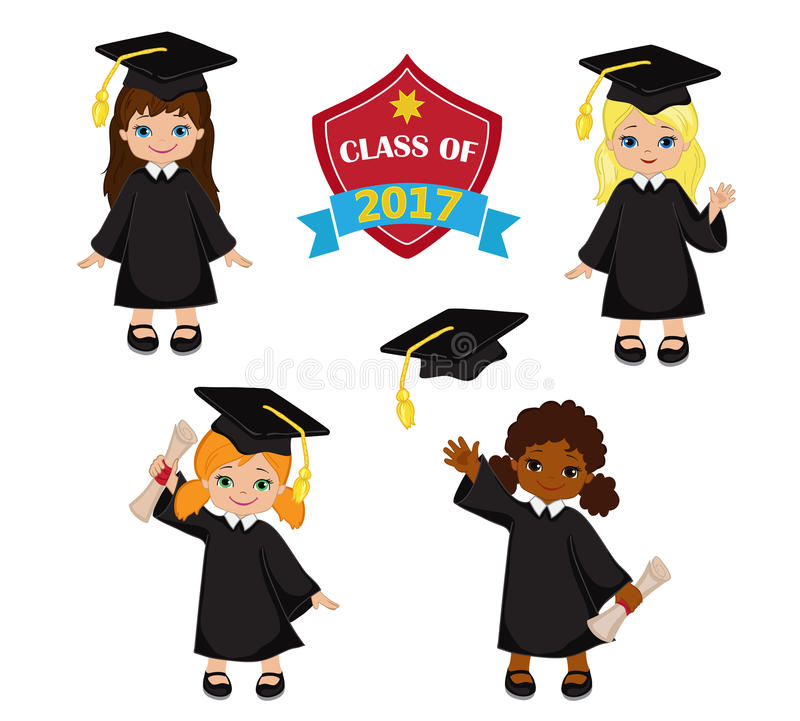 Girls. Set of children in a graduation gown and mortarboard. royalty free illustration
