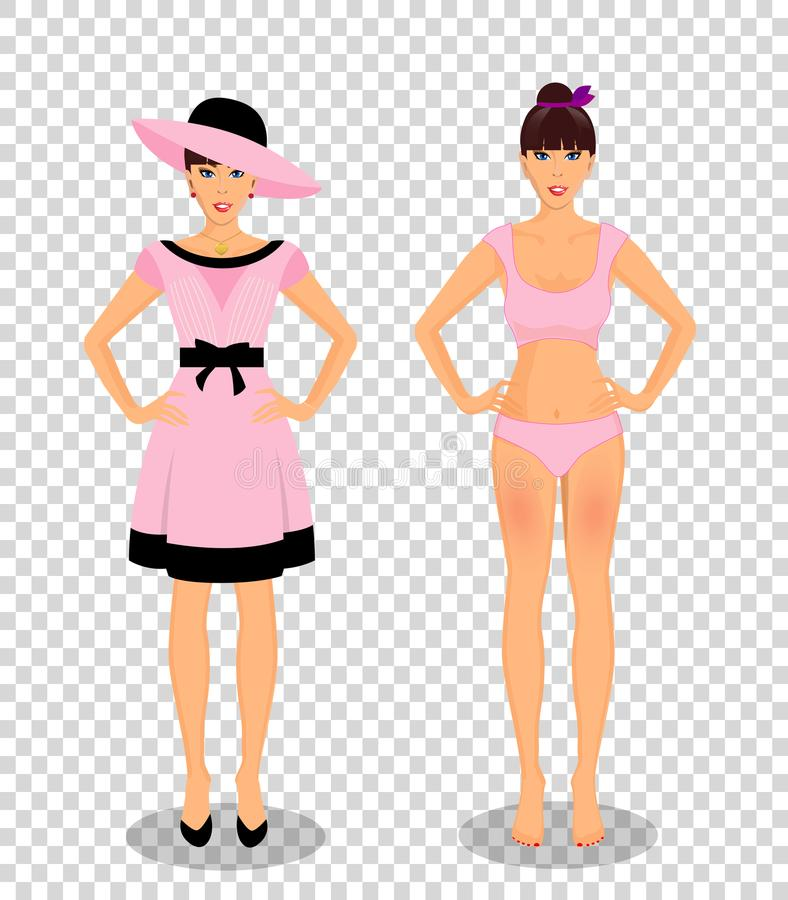Girls set in dress and in underwear bikini on transparent. Vector people set collection with beautiful young woman cartoon character in different wardrobe stock illustration