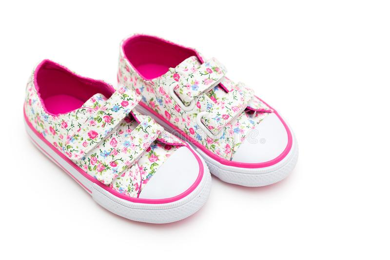 Girls shoes in flowers and pink color on a white background fl download girls shoes in flowers and pink color on a white background fl stock mightylinksfo
