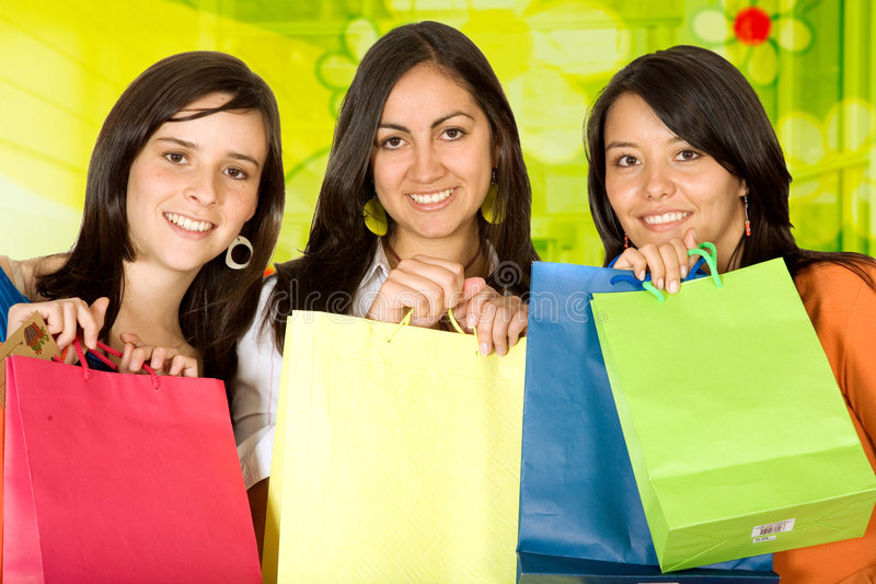 Download Girls shopping stock image. Image of girl, busy, happiness - 1445199