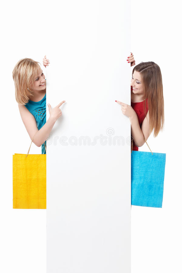 Girls with shopping royalty free stock photos