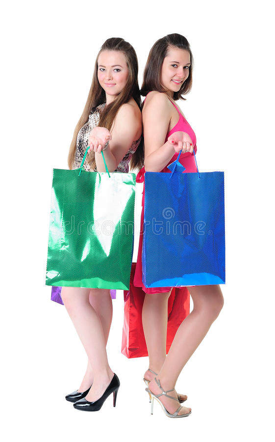 Girls with shopping bags stock photo