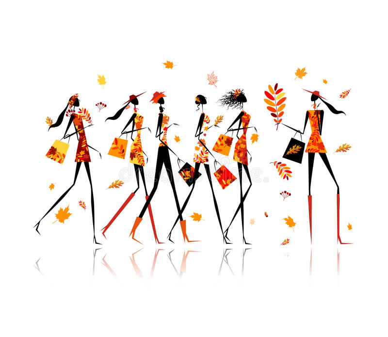 Download Girls With Shopping Bags, Autumn Sale For Your Stock Vector - Image: 34343548