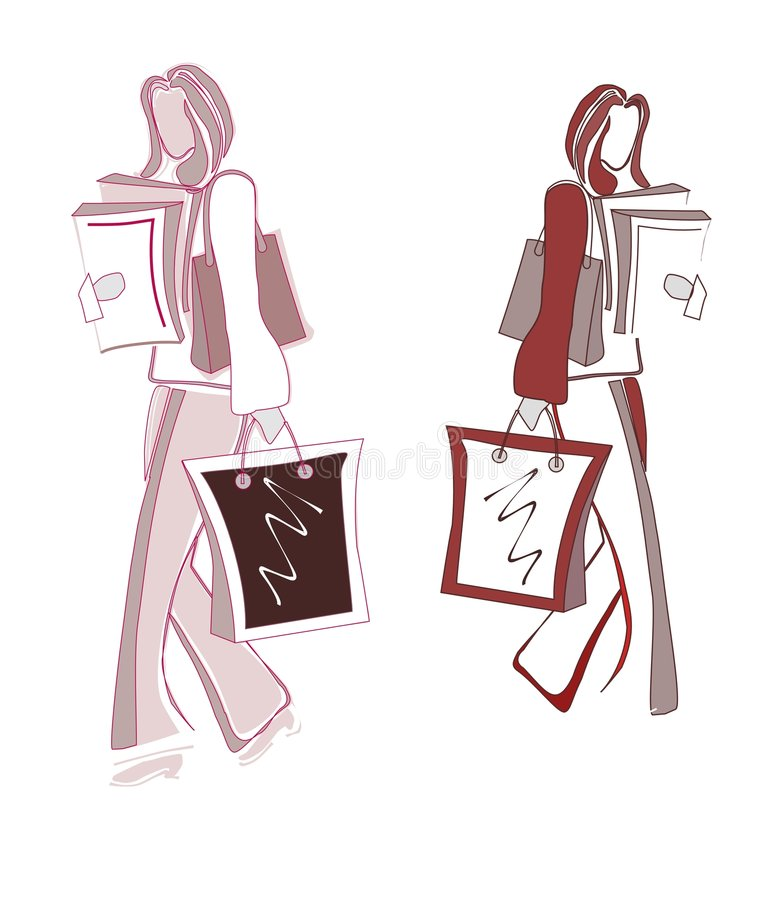 Girls shopping silhouttes stock photography