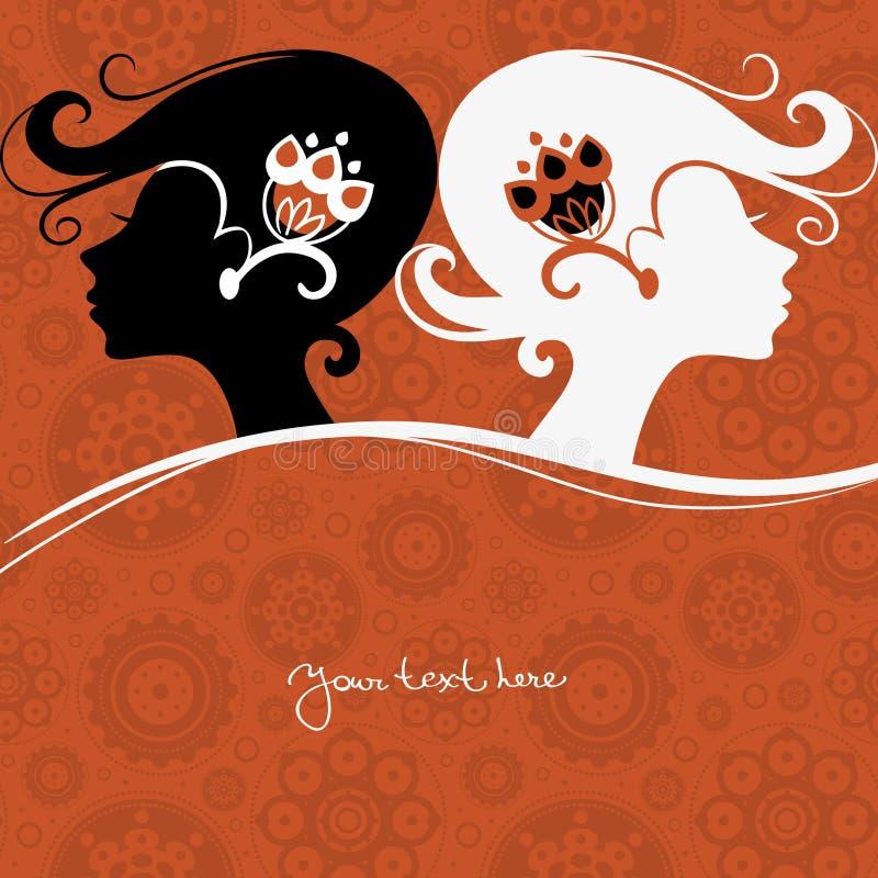 Girls silhouette vector illustration