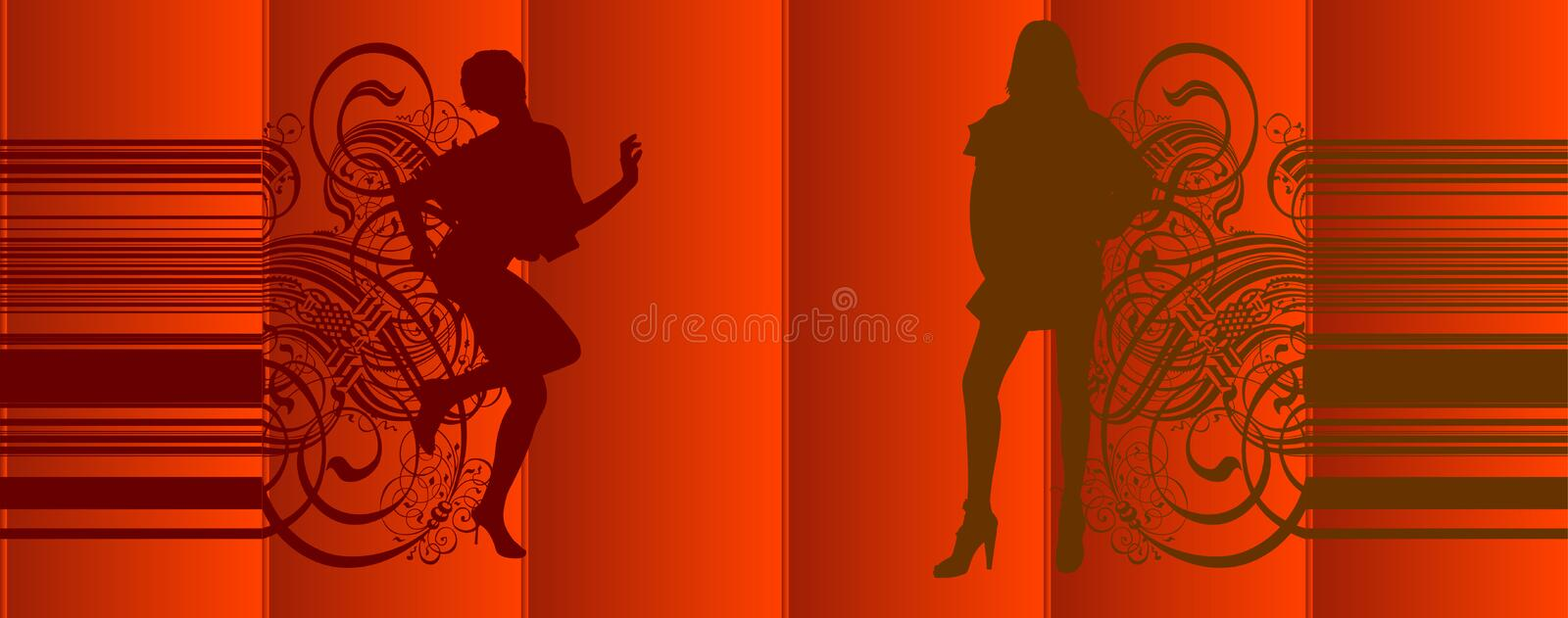 Download Girls Silhouette Red Curtains Stock Vector - Illustration of elegance, leaves: 2187463
