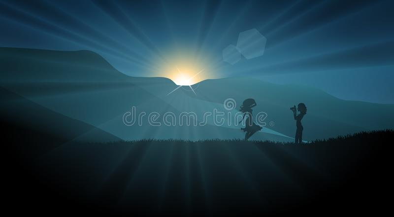 Girls silhouette shooting a photo at sunset on a field. Beautiful teen girls silhouette having fun in nature, taking photos, posing at sunset on a field stock illustration