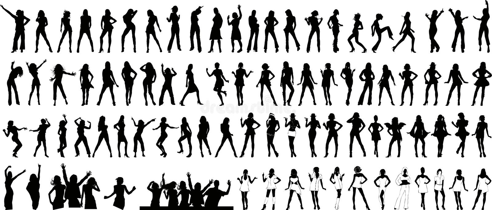 Girls silhouette (+ vector) royalty free stock images