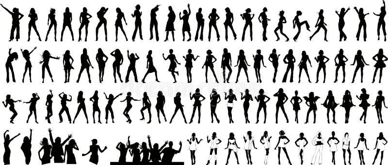 Girls silhouette (+ vector) royalty free illustration