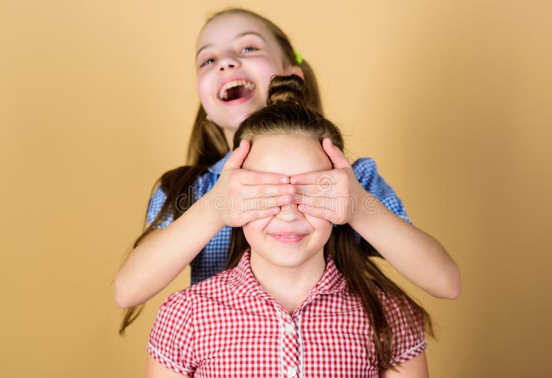 Girls sisters having fun together. Adorable sisters smiling faces. Family love. Sisterhood concept. Happy children play. Together. Having sister is always fun royalty free stock photo