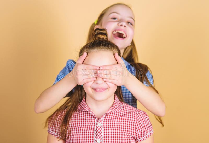 Girls sisters having fun together. Adorable sisters smiling faces. Family love. Sisterhood concept. Happy children play. Together. Having sister is always fun stock photo