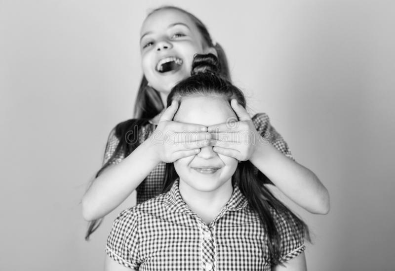 Girls sisters having fun together. Adorable sisters smiling faces. Family love. Sisterhood concept. Happy children play. Together. Having sister is always fun stock photography
