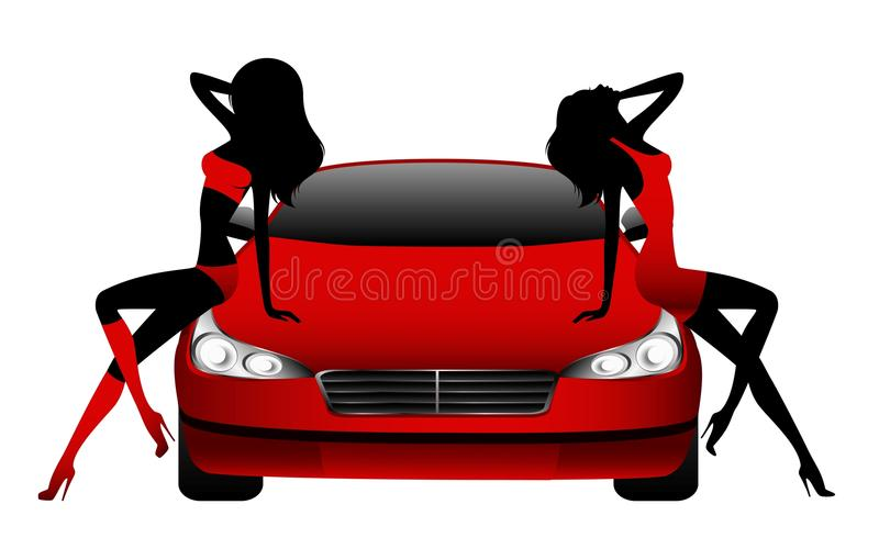 Girls sitting by the car vector illustration