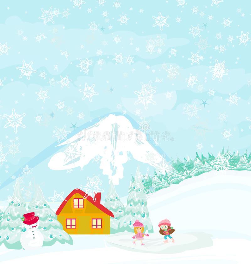 Download Girls on skates stock illustration. Image of mountains - 32973447