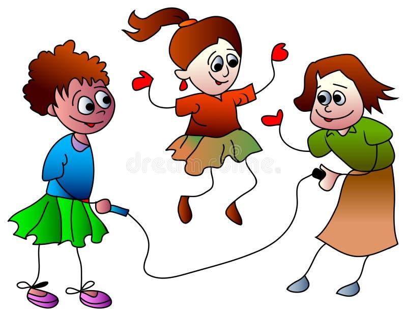 Girls skipping stock illustration