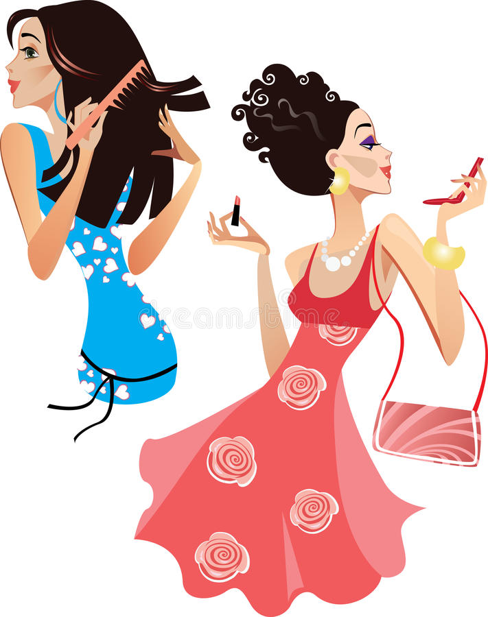 Girls smarten up. Colorful illustration of cheerful girls with cosmetics