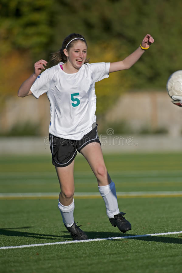 Girls soccer player smiling stock photos