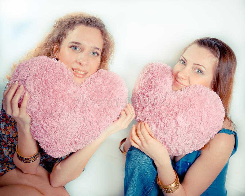 Girls With Soft Heart Royalty Free Stock Images