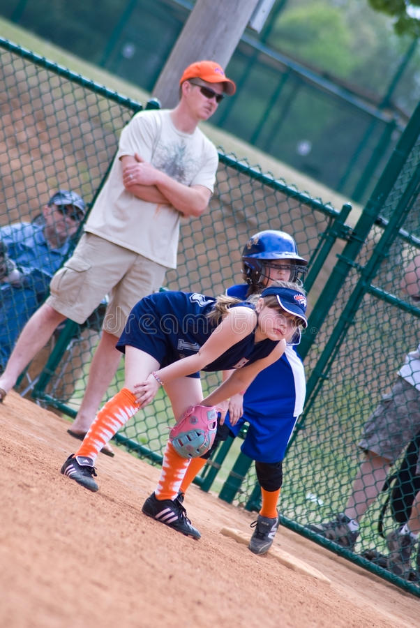 Free Girls Softball Runner On First Royalty Free Stock Images - 10347009
