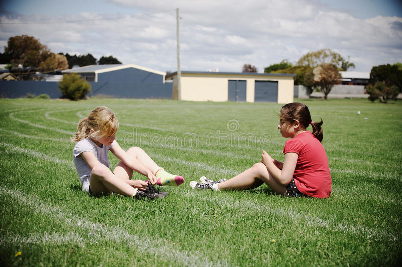 Girls on sports field royalty free stock photos