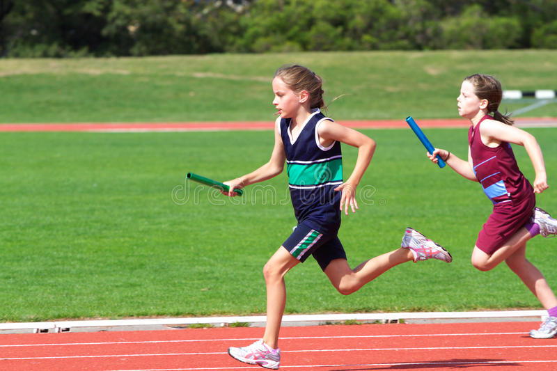 Girls in sports race. Domain Athletics Centre, Hobart, Australia, 29th March, 2011: Interschool athletics sports day between various southern Tasmanian primary