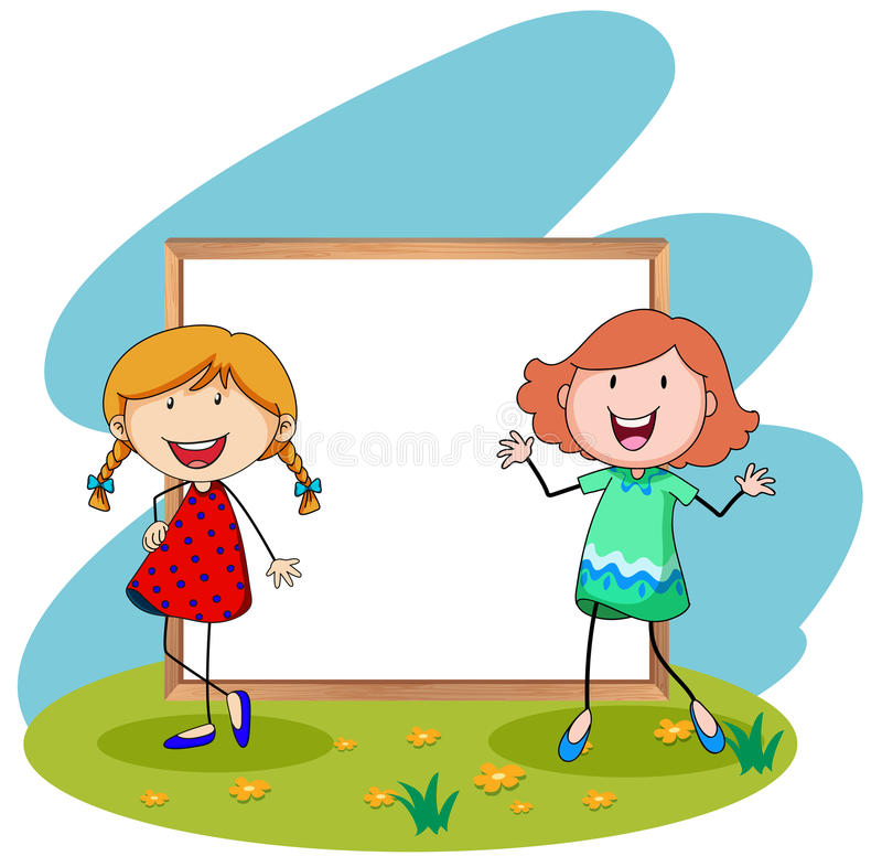 Girls standing in front of white board royalty free illustration
