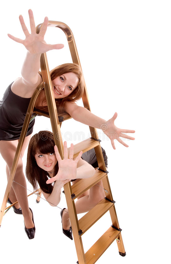 Download Girls with stepladder stock image. Image of girlfriend - 12707761