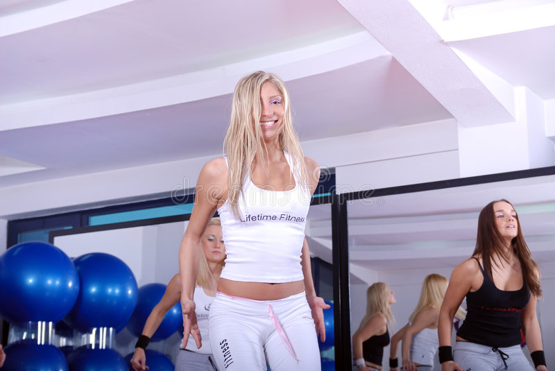 Download Girls Stepping In A Fitness Center Stock Image - Image: 7435115
