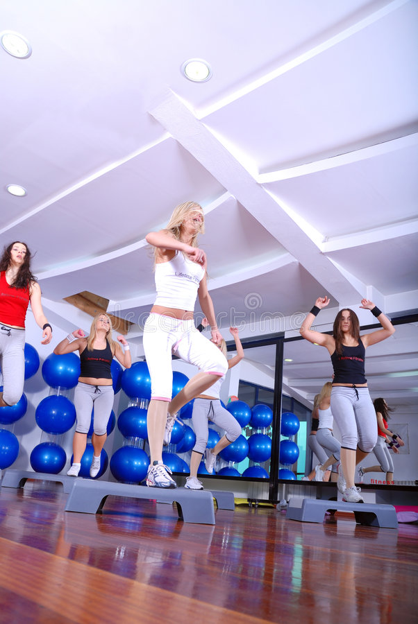 Download Girls Stepping In A Fitness Center Stock Image - Image: 7435381