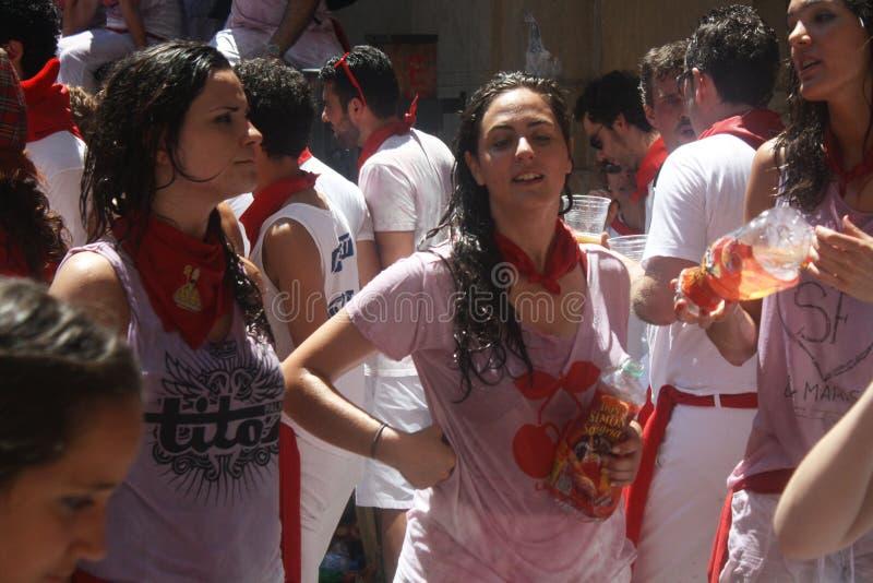 Girls On The Street In San Fermin Pamplona Editorial Stock Photo