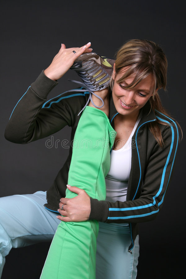 Girls stretching royalty free stock photography