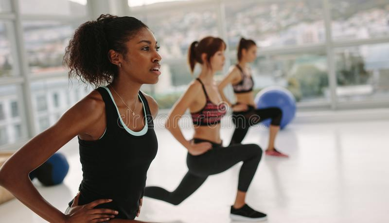 Girls stretching in gym class royalty free stock photo