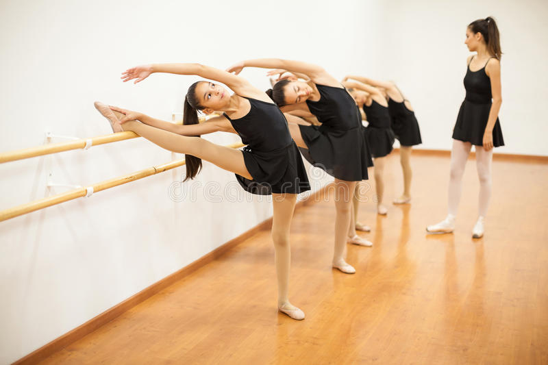 Girls Stretching During A Real Ballet Class Stock Image ...