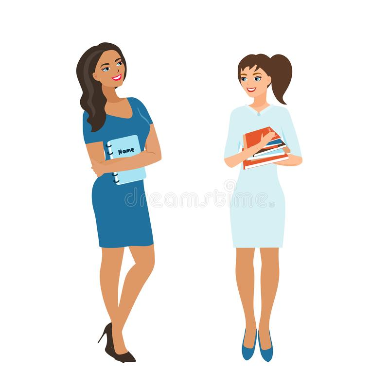 Girls students, schoolgirls hold a stack of books. The girls are smiling, in anticipation of the start of the school vector illustration
